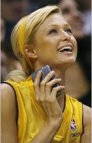 Paris Hilton with a Blackberry