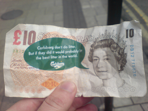 "Carlsberg £10 note ""litter"""