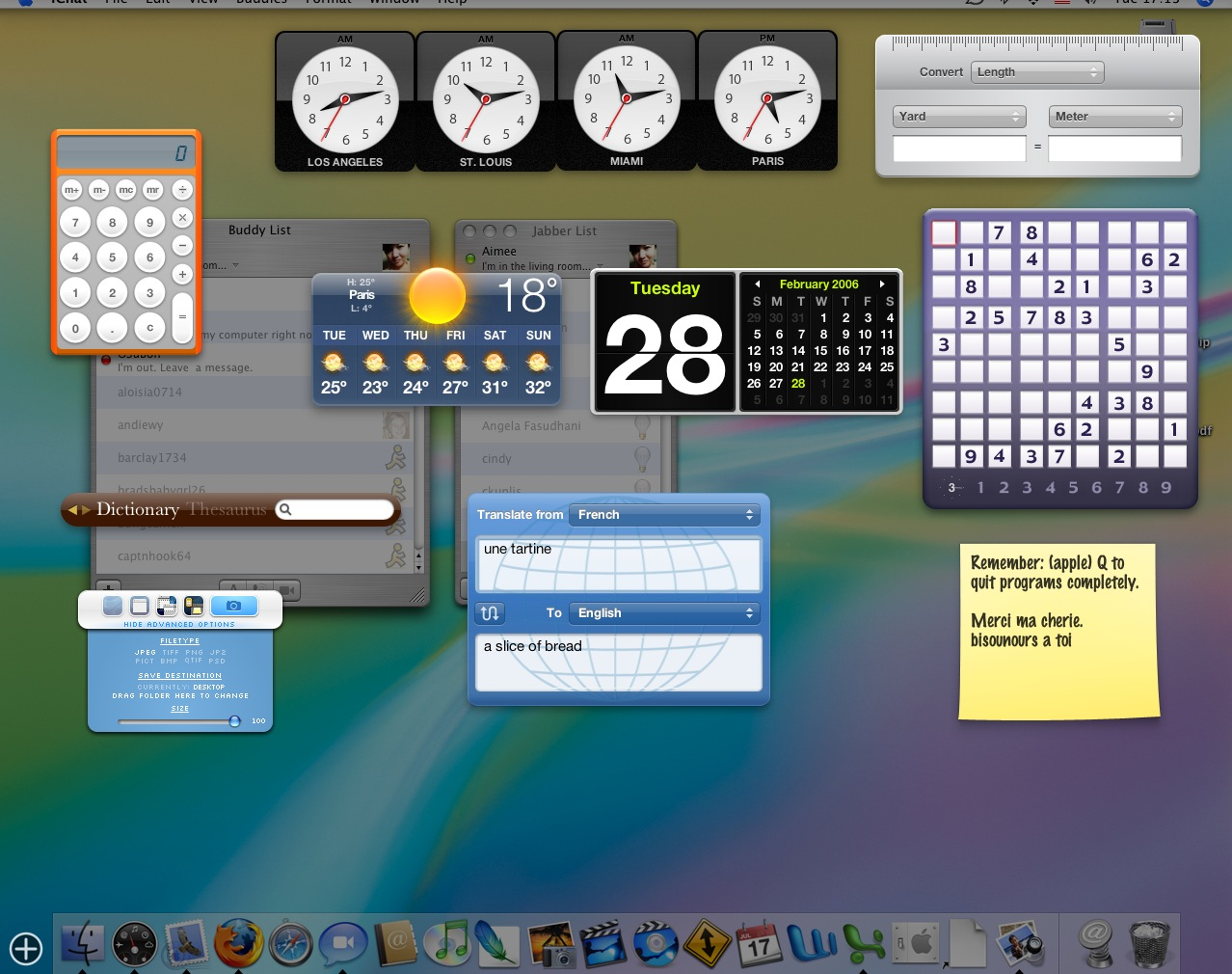 Lots of widgets (Mac OSX)