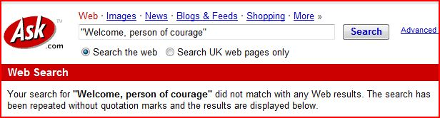 "Ask indexing  ""welcome people of courage"""