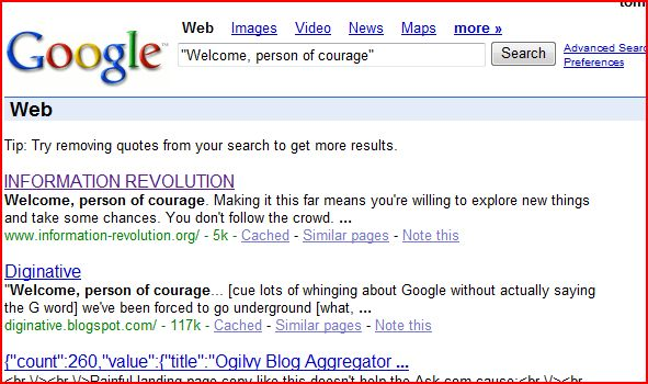 "Google ranking ""welcome, person of courage"""