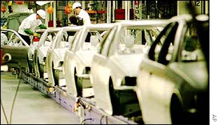 Mass production car plant line