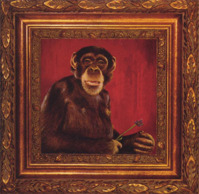 Talking Head album cover - an oil painting of amonkey