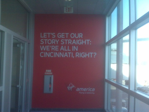 Virgin America arrivals sign at Vegas