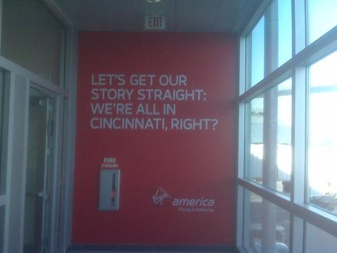 Virgin America arrivals sign at Vegas